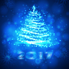 Vector blue background with snowflakes and Christmas tree.