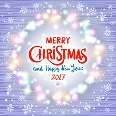 Merry Christmas and Happy New Year 2017. Glowing Christmas wreath made of led lights on the violet wooden background. Christmas lights background.