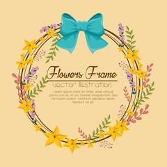 flowers beautiful frame decorative vector illustration design