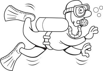 Black and white illustration of a scuba diver.