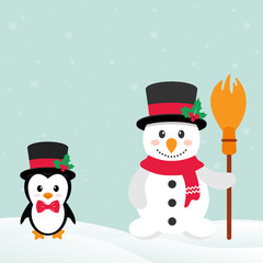 cute penguin with snow and snowman with broom