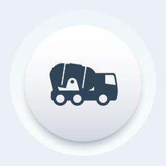 concrete truck round icon, vector illustration