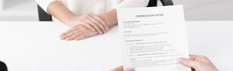 Curriculum vitae hold by a recruiter