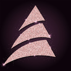 Pink golden glitter graceful christmas tree. Luxurious christmas design element, vector illustration.