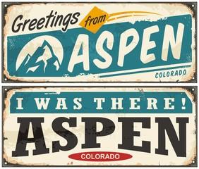 Aspen Colorado retro metal sign set with popular winter vacation destination