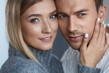 Care. Portrait Of Beautiful Young Couple, Woman And Man Indoors