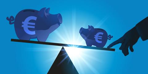 économie - équilibre - tirelire - crédit - coup de pouce