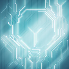 Background conceptual image of digital chip lightbulb on blue