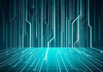 Digital conceptual image circuit microchip on blue wall