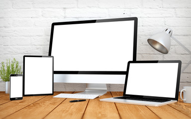 Wall Mural - white screen multidevices