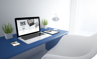 Wall Mural - blue responsive studio with we design devices