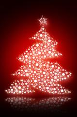 Sparkling Christmas tree with white snowflakes