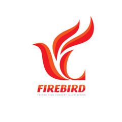 Fire Bird - vector logo template concept illustration. Abstract flame creative sign. Phoenix mytphology symbol. Design element.