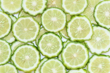 Prepared Bergamot slice for background and textured