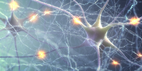 3D illustration of Interconnected neurons with electrical pulses. Wall mural