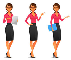 beautiful young business woman in various poses