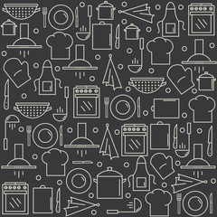 Kitchen pattern in the style of the line. Kitchen background. Vector illustration.