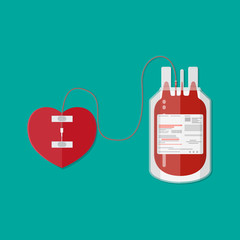 blood bag and heart. donation