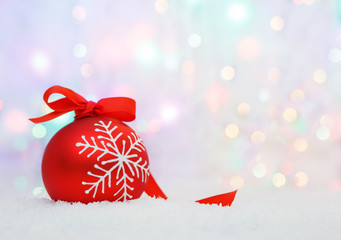 christmas ball on abstract light background