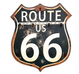 Photo on textile frame Route 66 Isolated rusty Route 66 sign..