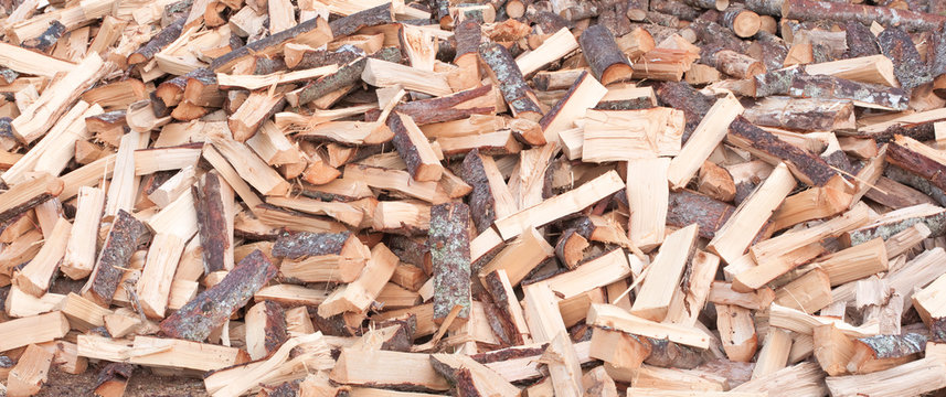 Hardwood pile ready to be used as firewood