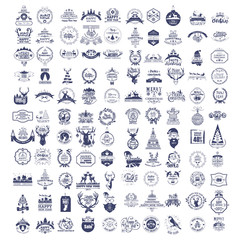 Collection of vintage retro labels, stamps and badges. Vector Il