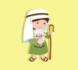 Illustration of good shepherd cartoon design. Vector illustration isolated on white background.