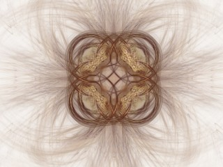 Abstract fractal with a brown pattern on a white background