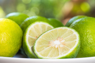 Closeup Lemon slice with nature blur background, Prepared lime slice for cooking