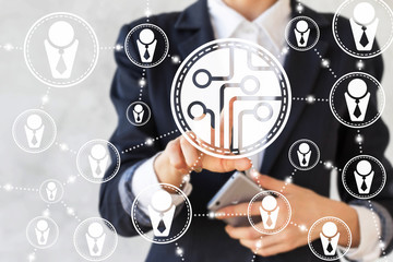 Businessman presses microchip sign. CPU icon. Chip button. Concept, technology, network, business, communication, smartphone. Microcircuit, networking, team, teamwork, human resources, connection.