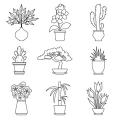 Contour houseplants. Icons of house plants in outline style. Vector illustration.
