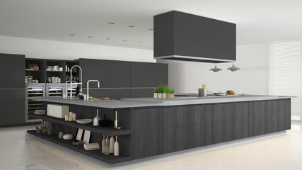 Minimalistic gray kitchen with wooden and gray details, minimal