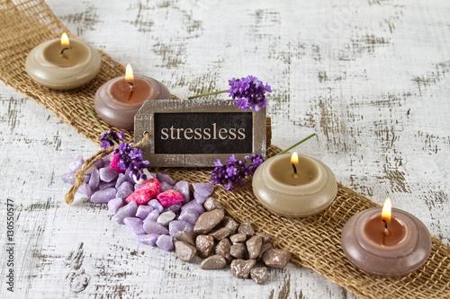 stressless time concept with burning candles and lavender photo libre de droits sur la banque. Black Bedroom Furniture Sets. Home Design Ideas