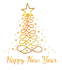 Gold Happy New Year greeting card with tree