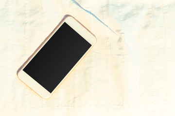 Top view smartphone mock up template with black screen