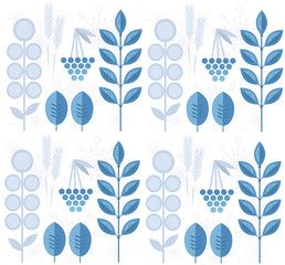 Seamless winter pattern with leaves, snowflakes, rowanberry