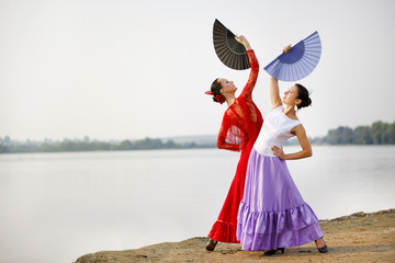 Flamenco dancers Spain womans in a long dress