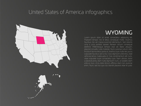 United States of America, aka USA or US, map infographics template. 3D perspective dark theme with pink highlighted Wyoming, state name and text area on the left side.