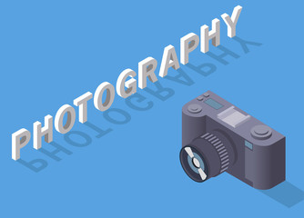 Vector the isometric camera with photos.Flat 3d isometric web vector infographic illustration.Design element for travel companies, leaflets,the websites.The objects are isolated