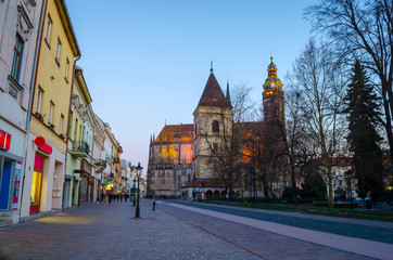 Architecture of the main street of Kosice and St. Elisabeth Cathedral at night Kosice, Slovakia, Europe