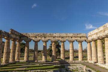 Internal view of greek Hera temple in Paestum, Salerno Italy