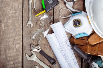 Poster Tissu big set of construction tools