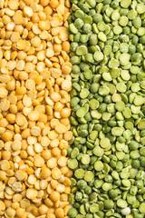 Yellow and green split peas.