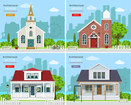 Set with modern church buildings and private houses. Cute houses with city background. Flat style vector illustration.