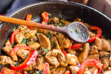 Tasty food with vegetables