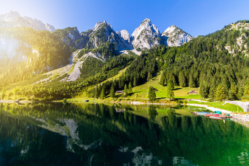 Tranquil summer scene on the Vorderer Gosausee lake in the Austrian Alps. Austria, Europe. Wall mural