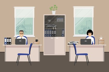 Web banner of two office workers. The young woman and man is an employees at work. There is furniture in white color on a windows background in the picture. Vector flat illustration