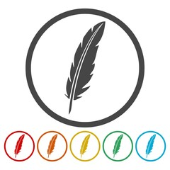 Feather sign icons set