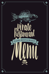 vector menu for pirate restaurants with fish skeleton and jolly roger