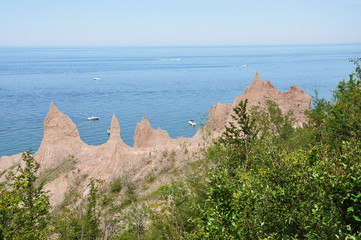 Chimney Bluffs State Park on Lake Ontario near Great Sodus Bay, New York State, USA